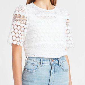 Express XS Floral Lace Puff Sleeve Crew Neck Top